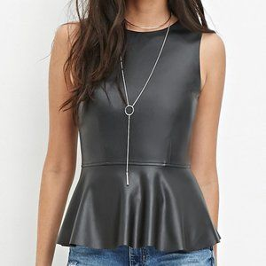 Forever 21 Sleeveless Faux Leather Peplum Top S